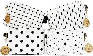 Ailina Small Baby Linen Storage Organizer Sets (Beige,Grey,Pink,Blue) Fabric Storage Basket Organiser with 2 Handles on Both Sides 20.5x17x15cm -Sets of 4 (Black&White)
