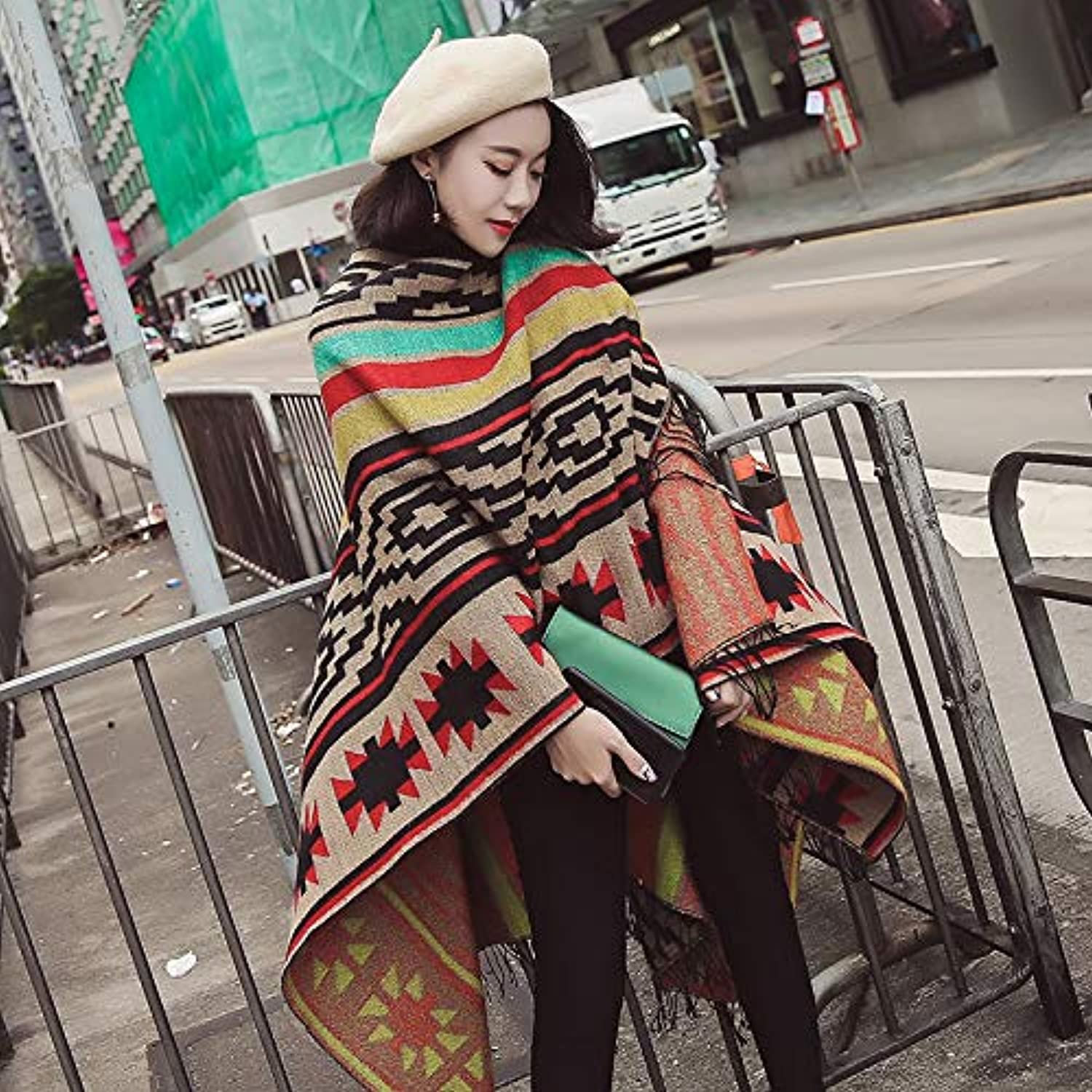 JINGB Home Cloak Shawl Cloak Female Summer Sun Tassel bat Shirt Coat Autumn and Winter Women's Warm Scarf