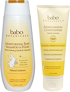 Babo Botanicals All Natural Calendula Oat Milk Baby Shampoo & Wash and Conditioner Bundle For Dry, Damaged Hair and Sensitive Scalp With Aloe Vera, Kudzu, Meadowsweet and Watercress, 8 & 6 fl. oz.