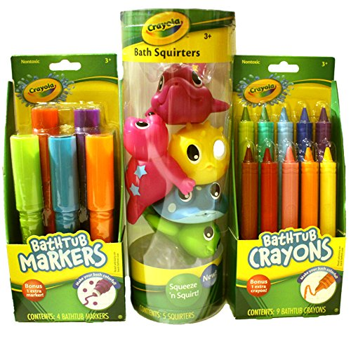 Crayola Bath Time Fun Bundle Including Bathtub Markers, Bathtub Crayons and Bath Squirters