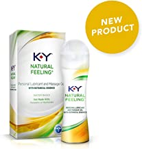 K-Y Natural Feeling Personal Lubricant & Massage Gel With Botanical Essence 1.69 oz, Water Based & Free From Harmful Chemicals