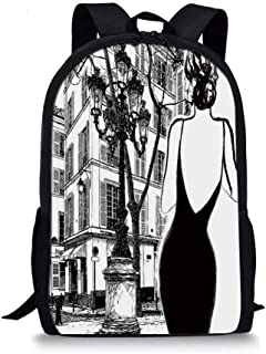 Paris City Decor Stylish School Bag,Young Elegant Woman in a Black Dress in Paris Street Old Building Facade Cityscape for Boys,11''L x 5''W x 17''H