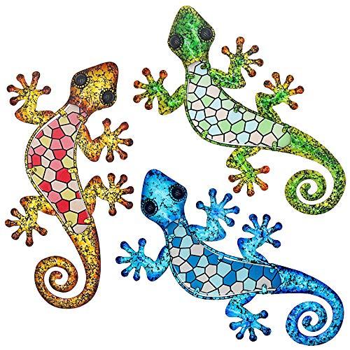 Tfro & Cile Metal Gecko decoración de pared al aire libre, paquete de 3 esculturas para colgar en el jardín, 9.1 pulgadas de longitud