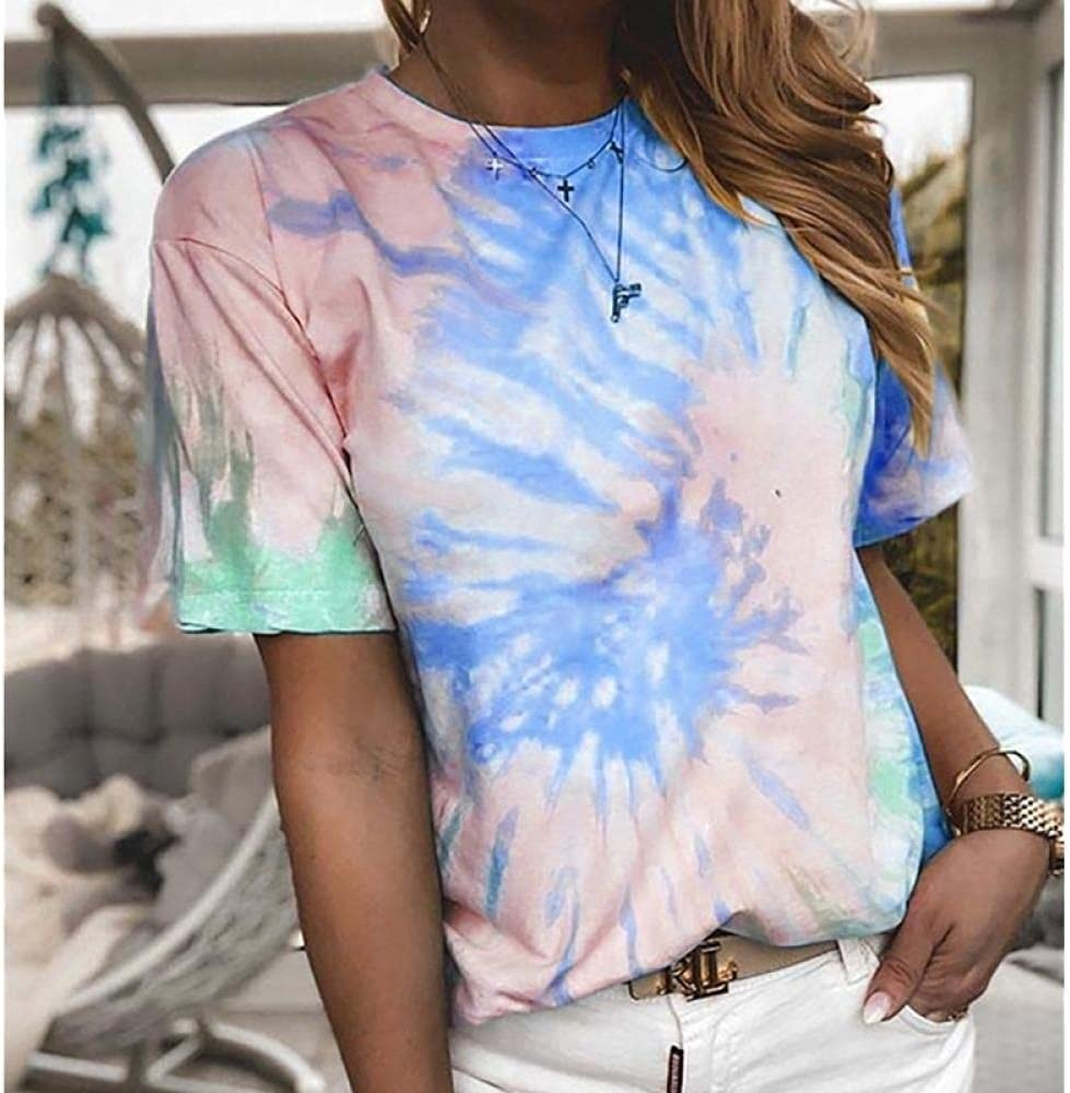 HSHUIJP Sexy Tops for Women Fashion Casual Tie Dye Print Tops Women Short Sleeve Crew Neck Loose Holiday T Shirts Streetwear Women, s Vests (Color : D, Size : M)