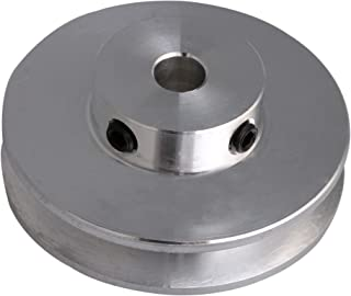 BQLZR 41x16x6MM Silver Aluminum Alloy Single Groove 6MM Fixed Bore Pulley for Motor Shaft 3-5MM PU Round Belts