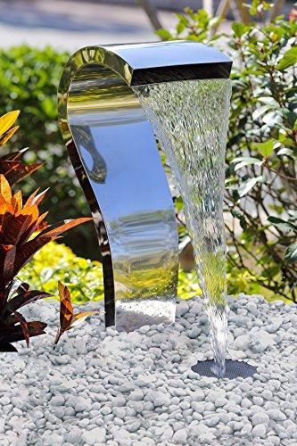 Köhko® Wasserfall Schwan aus Edelstahl 23005 Wasserspiel mit LED-Beleuchtung