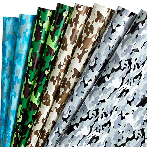 RUSPEPA Geschenkpapierblatt - Camo-Design Für Party-, Geburtstags-, Feiertags- Und Besondere Anlässe - 1 Rolle Enthält 8 Blätter - 44,5 X 76 CM Pro Blatt
