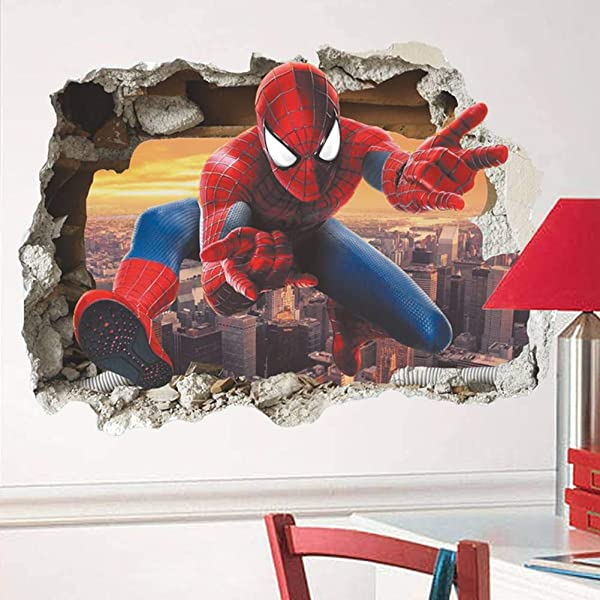 3D Effect Hero Through Decorative Wall Stickers For Nursery Kids Room Decorations Cartoon Spiderman PVC Broken Wall Decal Poster