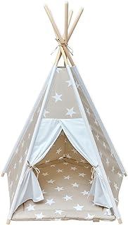 KraftKids lektält-tipi stora vita stjärnor på beige univit, indiantält för lek för barn, småbarn och bebisar, inklusive le...