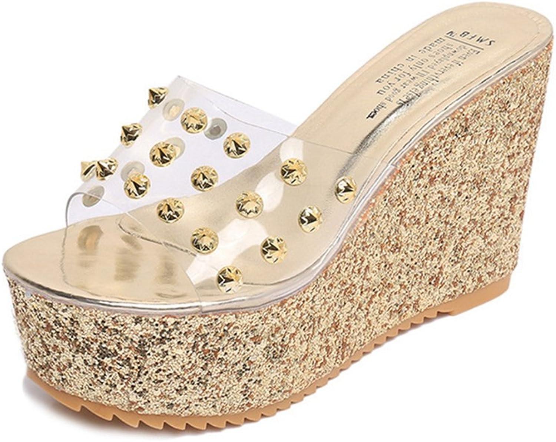 GIY Womens Rhinestone Wedges Sandals Platform Outdoor Anti-Slip Clear Glitter Thick High Heel Summer Sandals