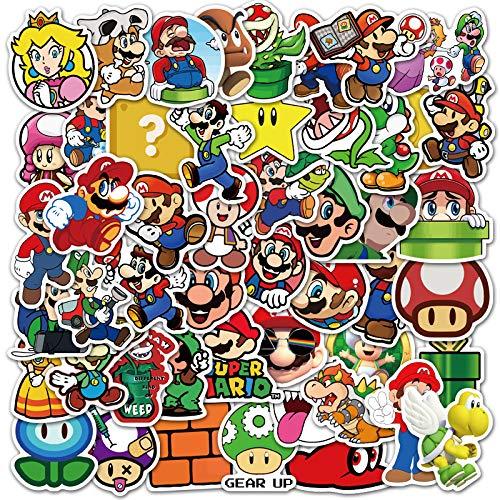 YZFCL The New Mario Personality Decorates Luggage Laptop Cartoon Waterproof Graffiti Stickers 50Pcs
