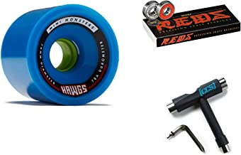 Hawgs Mini Monsters Longboard Wheels - 70mm - 78a - Blue with Bones Reds Bearings and CCS Skate Tool