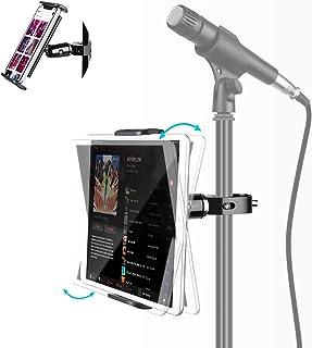 Elitehood Metal iPad Mic Stand Holder, 360° Swivel Tilt Microphone Stand Phone Holder Mount, Aluminum Tablet Clamp Adapter...