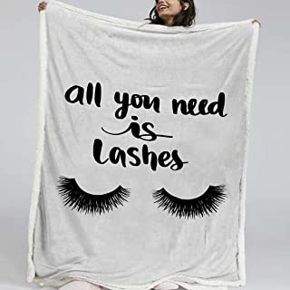 BlessLiving Beauty Eyelash Sherpa Blanket Closed Eyes Cute Fuzzy Throw Blanket Funny Lash Extensions Lightweight Blankets for Fashion Girls Lash Blanket Decorative Throws Black (50 x 60 Inches)
