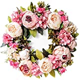 wenyujh Artificial Flower Wreath Door Wreath Front Door Decor with Peony and Green Leaves Decoration for Door Farmhouse Party Wedding Home Wall Hanging Decor 1 Pcs