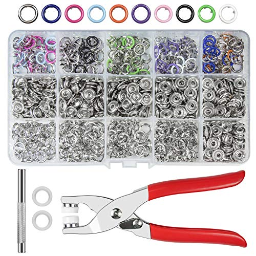 CHEPULA Craftsmanship DIY 200 Sets Metal Snaps Buttons with Fastener Pliers Press Tool Kit for for Sewing and Crafting (10 Colors,9.5mm)