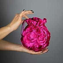 Borse Borsa Pochette donna tela tessuto saten rosa rosso fucsia