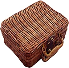 Retro Wicker Suitcase,Brown Wicker Picnic Basket Rattan Storage Box Travel Suitcase for Outdoor,Outing,Camping Storage Baskets
