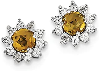 925 Sterling Silver Diamond Whiskey Quartz Post Stud Earrings Ball Button Fine Jewelry Gifts For Women For Her