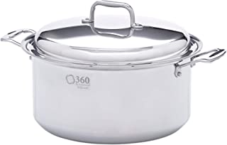 360 Stainless Steel Stock Pot with Lid, Handcrafted in the USA, Induction Cookware, Waterless Cookware, Dishwasher Safe, Oven Safe, Stainless Steel Cookware, Dutch Oven, Stockpot (8 Quart)