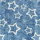 Weiß STARS (Kontur) / getragene dunkelblaue Jeans,