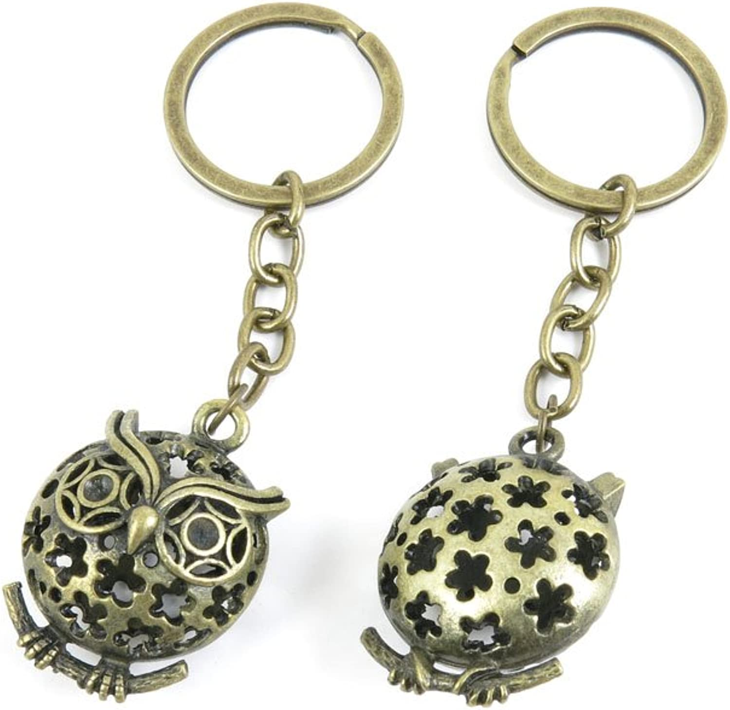 30 PCS Keyrings Keychains Key Ring Chains Tags Jewelry Findings Clasps Buckles Supplies U6ZK6 Hollow Owl
