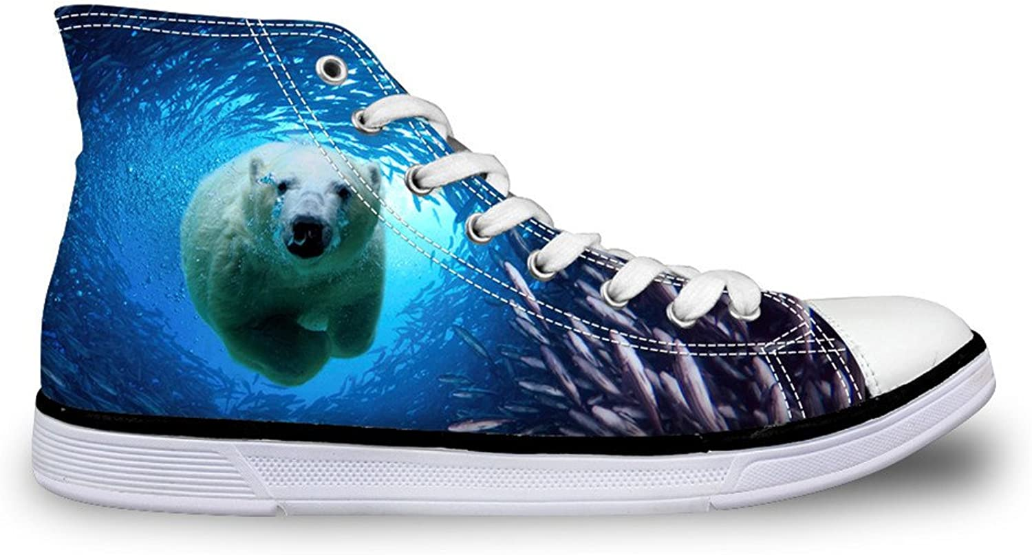 Chaqlin Lace-up Adults Vulcanized shoes 3D Polar Bear Non-Slip Walking Sneaker for Women Men Size 43