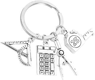 Generic Math Teacher Keychain Mathematics Metal Key Rings with Ruler Compass Calculator Pendant for Teacher Day Gifts