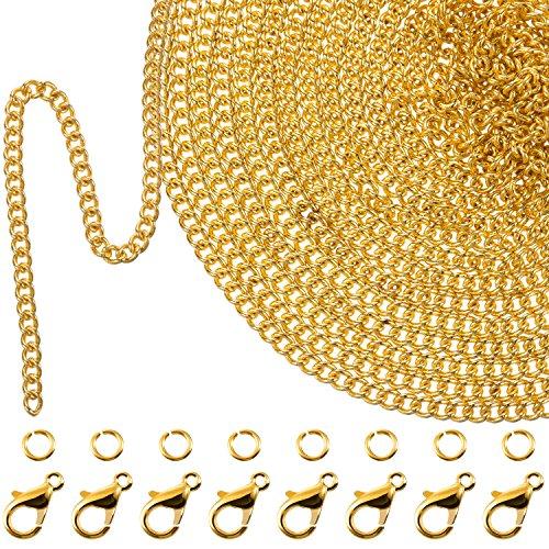 33 Pieds Collier à Maillons Plaqué Or avec 30 Anneaux de Saut et 20 Fermoirs de Homard pour Hommes Femmes Fabrication Chaîne de Bijoux DIY (1.5 mm)