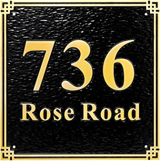 """Custom Metal Address Plaque Personalized Cast with Arch top (Large Option). Display Your Address and Street Name.Custom House Number Sign Plaques 8"""" x 8"""""""
