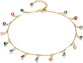 Dainty Ankle Bracelet, 14K Gold Plated Tiny Bead Anklet Dainty White Cubic Zirconia Cross Tassel Foot Chain Cute Lucky Moon Evil Eye Foot Jewelry Boho Anklets for Women