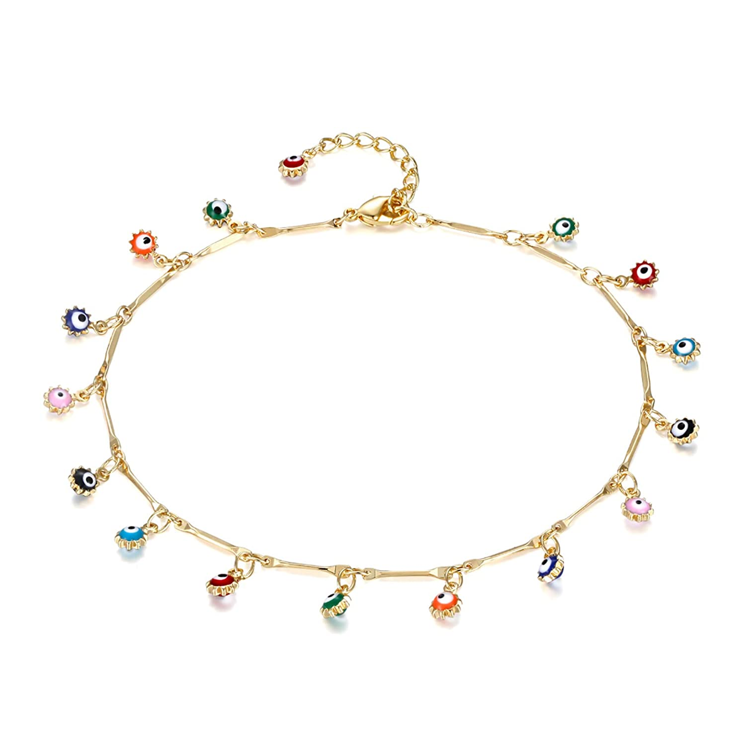 LOYATA Dainty Ankle Bracelet, 14K Gold Plated Tiny Bead Anklet Dainty White Cubic Zirconia Cross Tassel Foot Chain Cute Lucky Moon Evil Eye Foot Jewelry Boho Anklets for Women