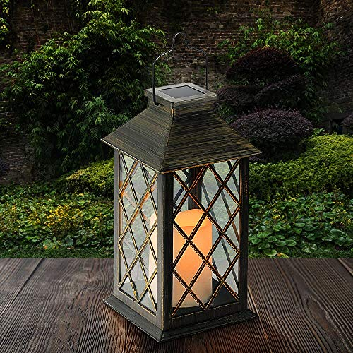 Tomshine Solar Lantern Light Outdoor Garden Hanging Candle Lights Solar Powered Metal Lamp for Patio Decor Yard Art Garden Accessories Outdoor Lawn Courtyard Decorations