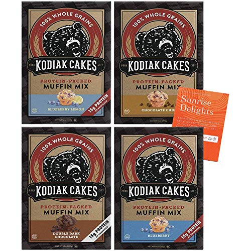 Kodiak Cakes High Protein Muffin Mix Variety Pack - 4 Boxes - 1 Box of Each Flavor - Blueberry, Double Dark Chocolate, Chocolate Chip, and Blueberry Lemon + Bonus Fun Facts and Recipes Booklet!