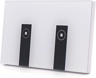 Atoparts Smart Wi-Fi Light Switch Switch 2 Gang Wireless in Wall Glass That Compatible with Amazon Alexa and Google Home ,Control Your Fixtures From Anywhere(2 Switches in 1 Gang Box)
