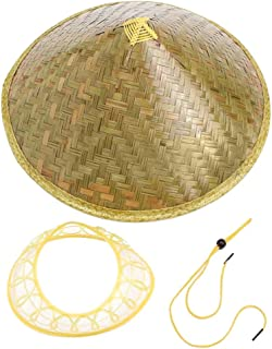 Queenbox Asian Bamboo Coolie Hat,Japanese Weave Straw Hat,Vietnamese Farmer Hat