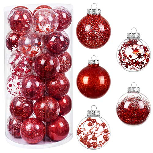 """HBlife 30ct Christmas Ball Ornaments Shatterproof Clear Plastic Baubles for Xmas Tree, Christmas Decor Perfect Hanging Ball, 2.36"""" Red"""