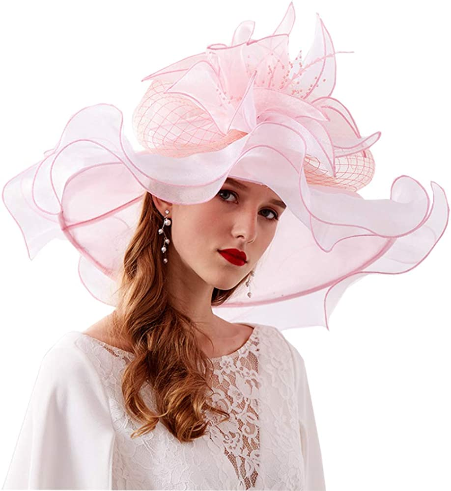 Yichuhaoxi Women Organza Church Kentucky Derby Fascinator Hat for Bridal Tea Party Wedding
