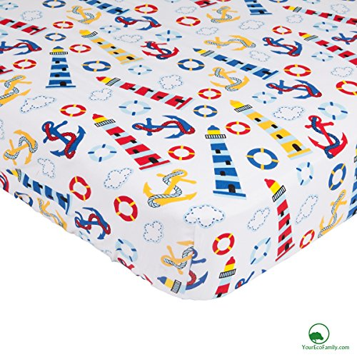 YourEcoFamily Cotton Fitted Crib Sheet and Toddler Pillowcase Set - Certified Organic Cotton - For Your Baby, Toddler Boy or Girl (Crib Sheet and Pillowcase Set - Ocean)