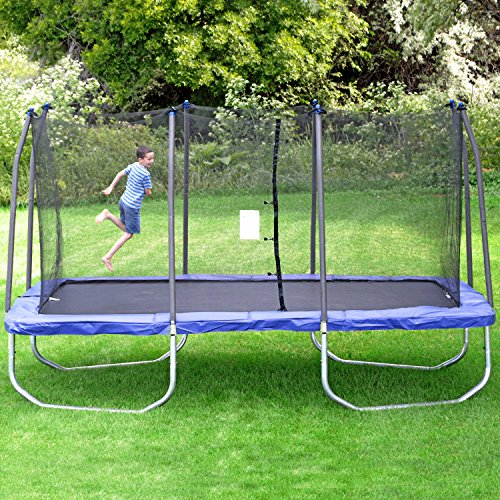 Skywalker Trampolines 15-Foot Rectangle Trampoline with Enclosure Net - Blue