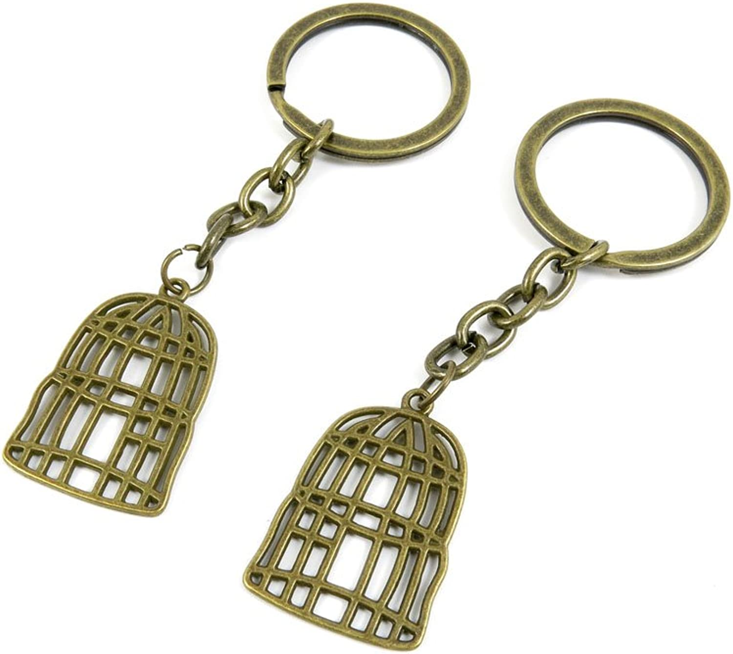100 PCS Keyrings Keychains Key Ring Chains Tags Jewelry Findings Clasps Buckles Supplies T5UC9 Birdcage