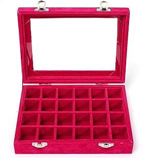 Niome 24 Grids Girls Velvet Glass Jewelry Box Ring Earrings Display Organizer Holder Storage Case Rose Red