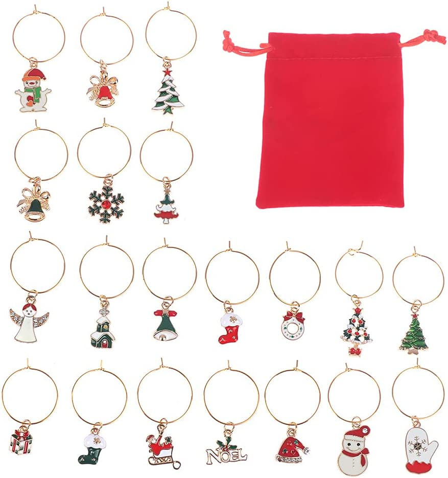 Yiphates 20 A surprise price is realized Pcs San Antonio Mall Christmas Wine Glass Cha Markers Xmas