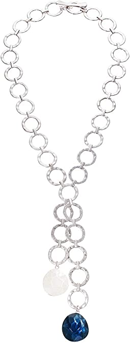 Stone Hammered Circle Link Y-Shaped Necklace