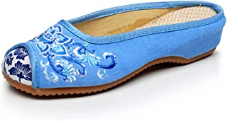 Inlefen Chinese style Embroidered shoes Women's Cloth shoes Single shoes Embroidered slippers