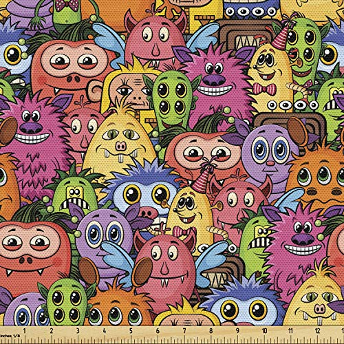 Ambesonne Alien Fabric by The Yard, Carnival of Beasts Cartoon Monsters with Different Art Styles Out of This World Theme, Decorative Fabric for Upholstery and Home Accents, 1 Yard, Magenta Pink