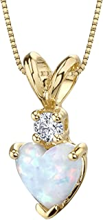 14 Karat Yellow Gold Heart Shape Created Opal Diamond Pendant