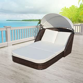 Canditree Outdoor Daybed with Canopy, Double Chaise Lounge with Cushions?Sun Lounger Poly Rattan for Patio Poolside Beach Brown
