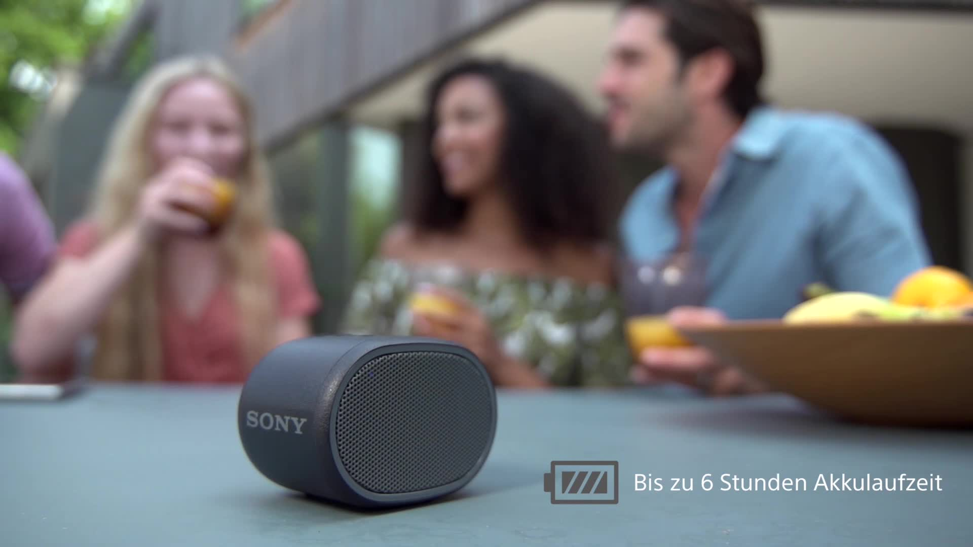 Sony Srs Xb01 Tragbarer Bluetooth Lautsprecher Extra Bass 6h Akku Spritzwassergeschützt Schwarz Audio Hifi
