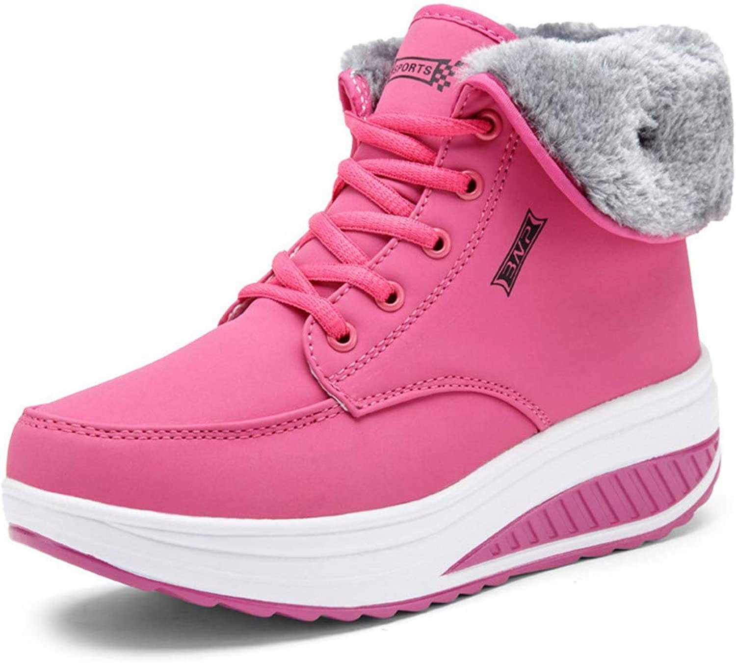 BMTH Women Winter Female shoes Wedges Platform Snow Boots Thermal Cotton-Padded shoes Flat Ankle Boots